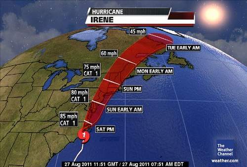 Hurricane Irene has Landed on the East Cost