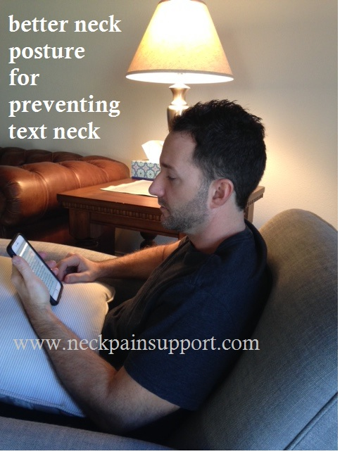 Better neck posture for preventing text neck