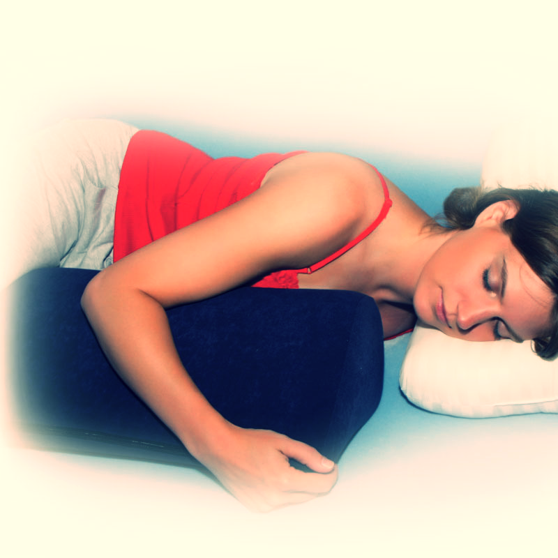 The Tear Drop Pillow can be used for stomach sleepers